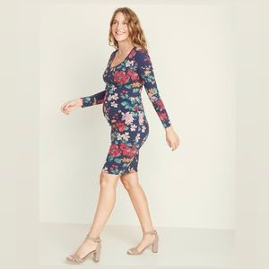 Old navy maternity blue floral long sleeve dress S